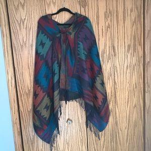 Patterned multicolored poncho/cape/shawl
